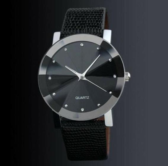 Relógio Masculino Pulseira De Couro Preta - Quartz