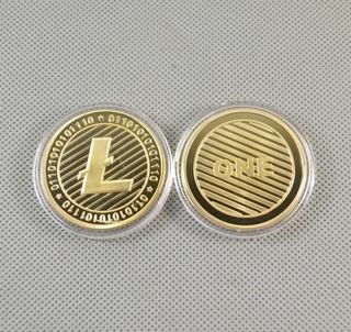 Robmar-bitcoin,-litecoin-bañado-oro-y Capsula Y Certificado