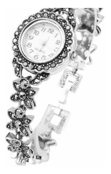 Relógio Prata Antiga 935 Com Marcassita 098