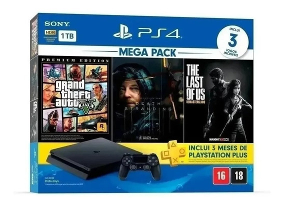 Console Playstation 4 1tb + 3 Jogos Gta 5 Ps4 Nacional