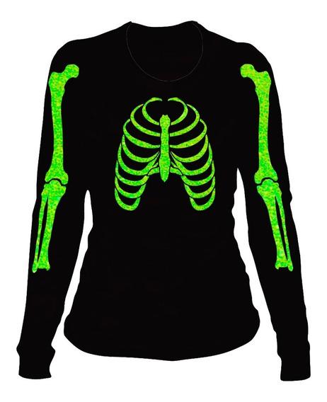 Playera Esqueleto Glitter Día De Muertos (halloween) Dama