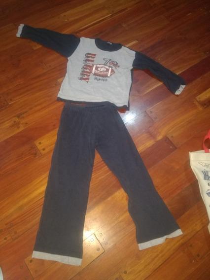 Piyama Pijama Varon Talle 10 . Invierno.negro. Gris-pantalo