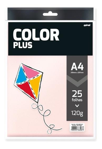 Papel Color Plus Rosa Metálico 120g 210x297 Spiral