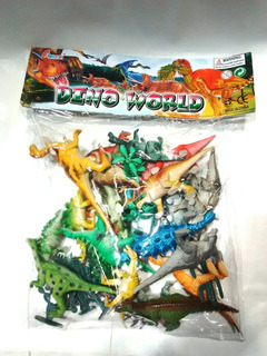 Dinosaurios Con Árboles Dino World 30 Piezas 14 Cm Largo