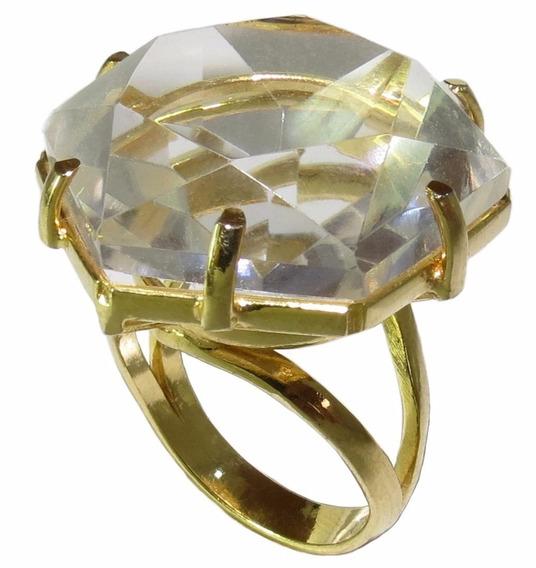 Anel Folheado A Ouro 18k Com Cristal Natural
