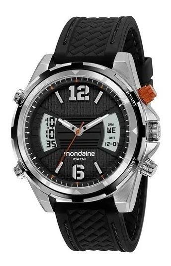 Relógio Mondaine Anadig Silicone Prata E Preto 53755g0mvni2