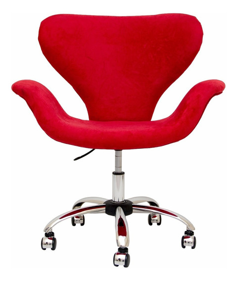 Cadeira Poltrona Escritório Cromada Altura Regulável Rodinha