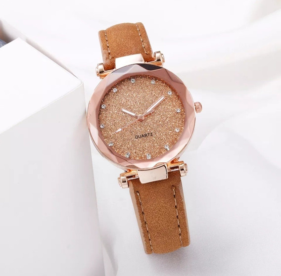 3 Relógios Feminino Peq Delicado Gliter Estrela Preto Rosa#.