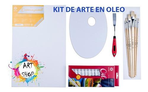 Kit Arte Oleo Conda X9 Piezas Paleta Pinceles Y Lienzo