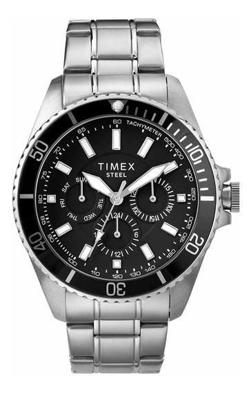 Timex Reloj Analógico De Acero Inoxidable 44mm Multifunción