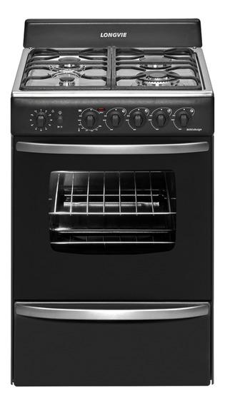 Cocina Longvie 19501G 4 hornallas multigas grafito 220V puerta visor 74L