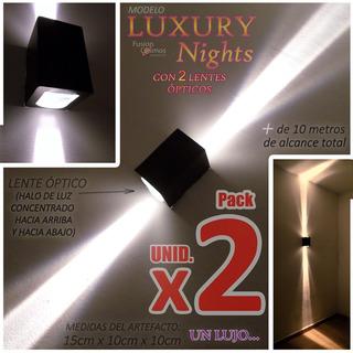 Aplique Pared Exterior Luz Bidireccional Lente Óptico X2unid