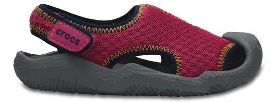 Zapato Crocs Niña Swiftwater Sandal K Rosa / Gris