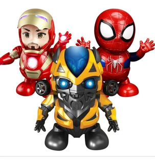 Figura Robot Iron Man Bailarin Lampara Spiderman Capitan