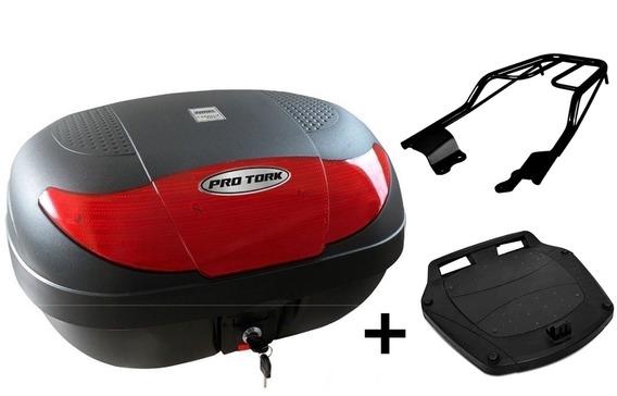 Bau Moto 45 Litros Pro Tork + Bagageiro Factor Fazer 150