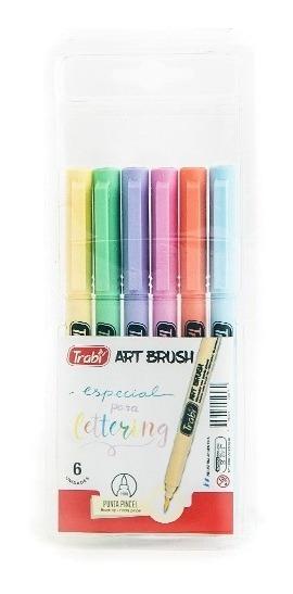 Marcador Trabi Art Brush Pastel Ideal Lettering X 6 Colores
