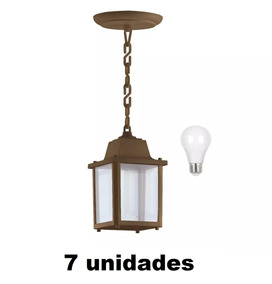 7 Pendente Retro Marrom Externo Alz15 Led 7w Bulbo Stella