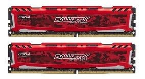 Memória 16gb ( 2x8gb ) Ddr4 2666mhz Crucial Ballistix Red