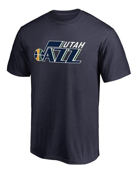Remera Basket Nba Utah Jazz Logo Completo Azul Marino