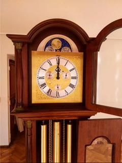 Reloj De Pié Carrillon 3 Pesas Luna Segundero Mes Día