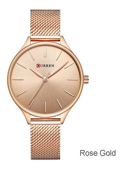 Relógio De Quartzo Casual Feminino Moderno Rosa Ouro