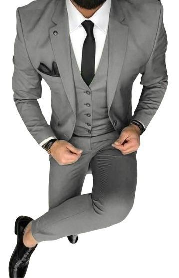 Terno Slim Masculino Cinza - Kit 2 Em 1 * Super Oferta *