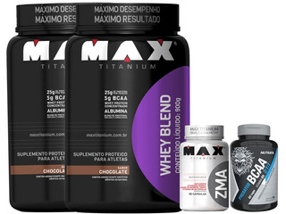 Combo 2x Whey Protein Blend Max Titanium 900g + Bcaa + Zma