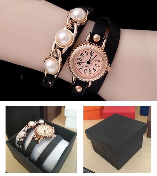 Pulseira Elegant Preta Com Relógio Quartz + Caixinha Mdf