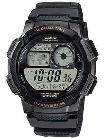 Relogio Casio Ae 1000w-1a Borracha Mapa Cronometro 5 Alarmes
