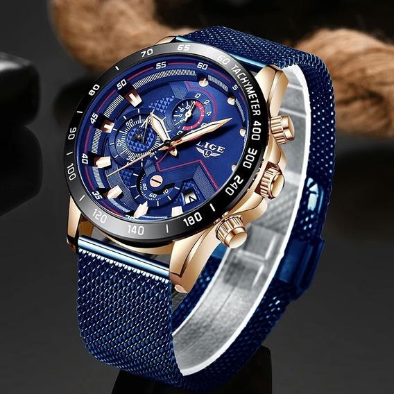 Relógio Esportivo Casual Masculino De Luxo Lige Azul