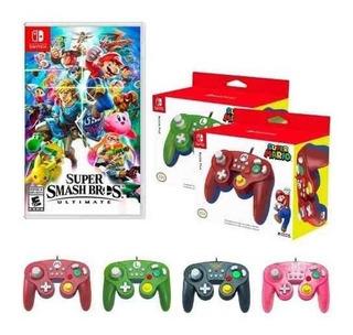 Combo Juego Nintendo Switch Smash Bros + 4 Mandos Oficiales