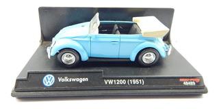 Carrinho New Ray Wolkswagen Fusca Azul Conversivel Vw12 1:43