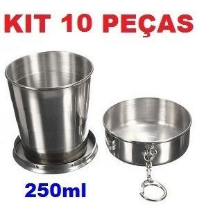 Kit 10 Chaveiro De Copo Retrátil Dobrável De Aço Inox 250ml