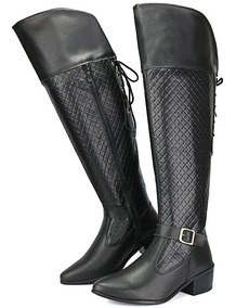 Bota Feminina Montaria Over The Knee Cano Longo Ziper Salto