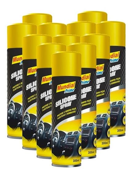 12x Silicone Spray Mundial Prime 300ml Carros Esteiras Couro