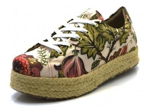 Tenis Feminino Jeans Floral Flatform Sapatilha Casual