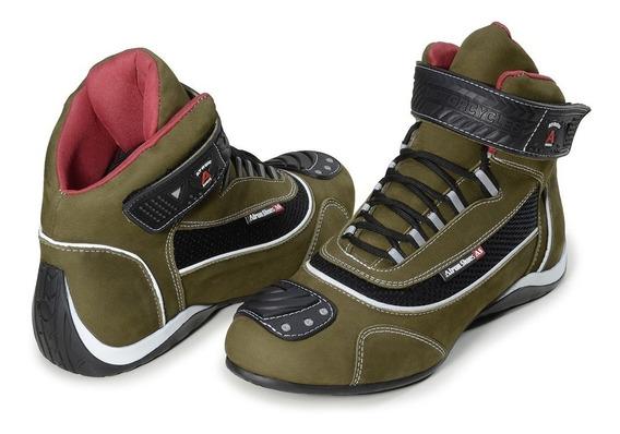 Tenis Masculino Bota Motociclista Couro Legítimo Atron Shoes