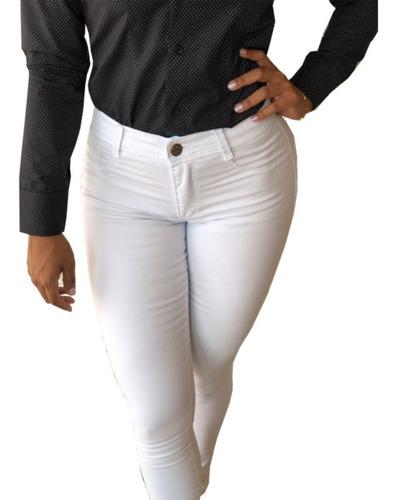 Imagem 1 de 4 de Calcas Jeans Femininas Branca Preta Azul Cintu/alta C/lycra