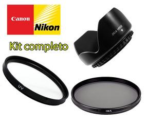 Filtro Uv + Polarizador Circular + Parasol 77mm Canon Nikon