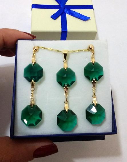 Conjunto Cristal Swarovski Castanha Emerald Folheado A Ouro