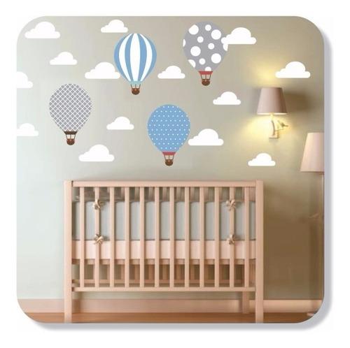 Adesivo Parede Decorativo Infantil Balões Balão + Nuvens
