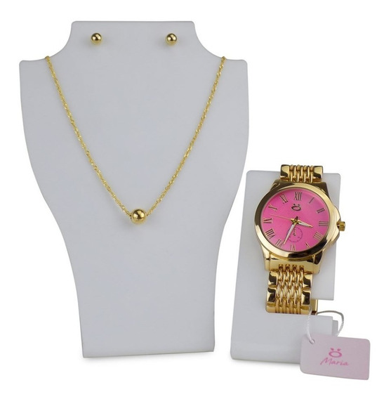 Kit Relógio Feminino Dourado Bonito + Colar/brinco Da Moda
