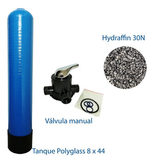 Tanque Polyglass 8x44 Valvula Manual +medio Carbon Hydraffin