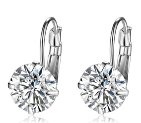 Brinco Pequeno Prata 925 Feminino Diamante Sintético 10mm