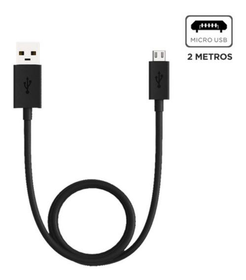 Cabo De Dados E Carga Motorola Micro Usb 2 Metros Preto