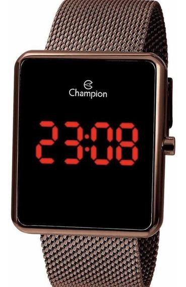 Relógio Champion Feminino Digital Led Vermelha Chocolate