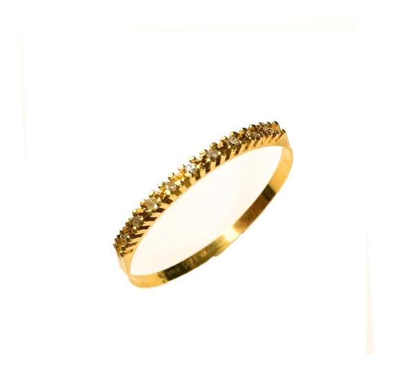 Anel Feminino Ouro 18k Meia Aliança Com 9 Brilhantes + Porta Joias 1864