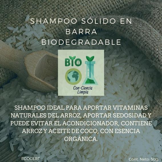Shampoo Sólido Orgánico En Barra Biodegradable 50g