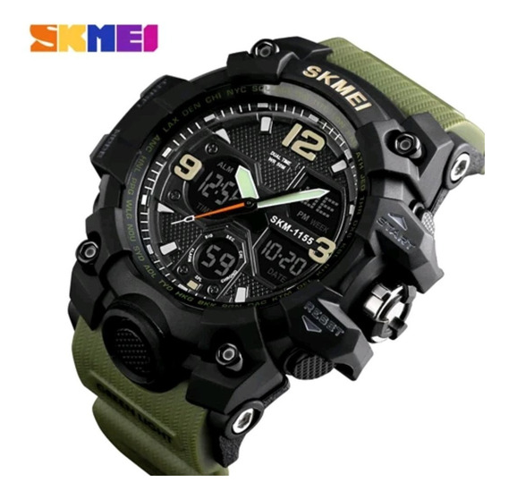 Relógio Militar Verde Skmei Masculino Esportivo Promoção