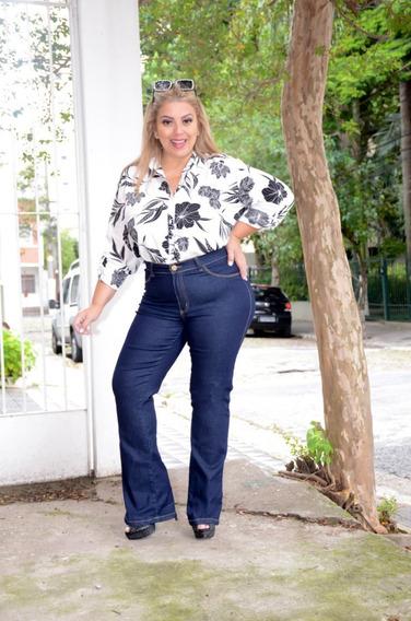 Calça Flare Feminina Jeans Plus Size 44 A 56 58 60 62 3078